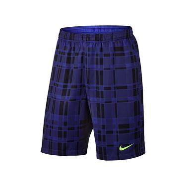 Nike Dry Court 9 Inch Plaid Short - Paramount Blue/Ghost Green