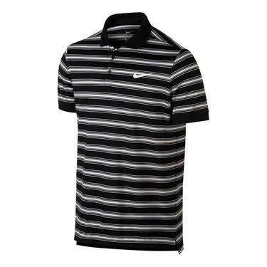 Nike Dry Striped Pique Polo - Black