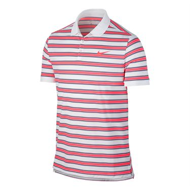 Nike Dry Striped Pique Polo - White/Hot Punch