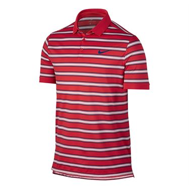 Nike Dry Striped Pique Polo - Action Red