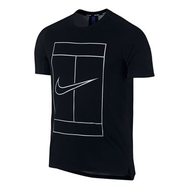 Nike Court Dry Swoosh Graphic Crew - Black/White