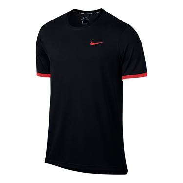 Nike Court Dry Team Crew - Black/Action Red