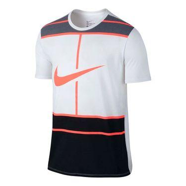 Nike Court Dry Tennis Tee - White/Bright Mango