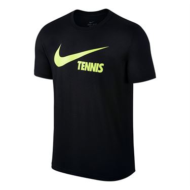 Nike Swoosh Tennis Tee - Black/Volt
