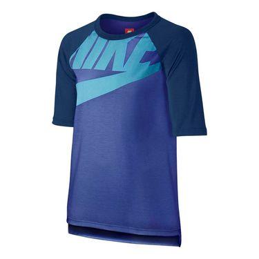 Nike Girls 3/4 GFX Sportswear Top - Comet Blue