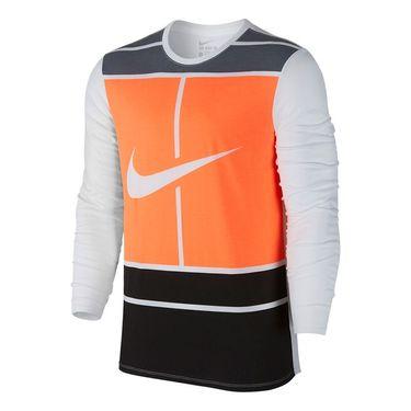 Nike Court Practice Tennis Crew - White/Bright Mango
