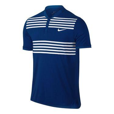 Nike Court Advantage Striped Polo - Blue Jay