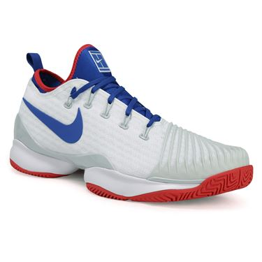 Nike Air Zoom Ultra React Mens Tennis Shoe - White/Blue Jay/Pure Platinum/Action Red