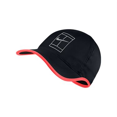 Nike Court Aerobill Feather Light Tennis Hat - Black/Hot Punch