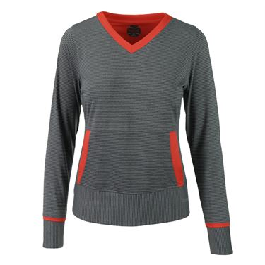 Bolle Margaux Long Sleeve V Neck Top - Graphite