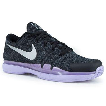 Nike Air Zoom Vapor Flyknit Mens Tennis Shoe - Black/Metallic Silver Hydrangeas
