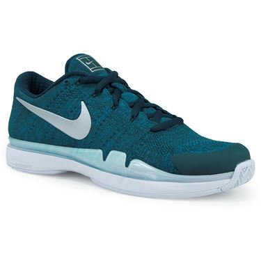 Nike Air Zoom Vapor Flyknit Mens Tennis Shoe - Teal/Metallic Silver/White