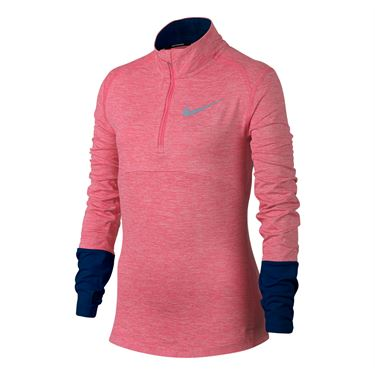 Nike Girls Dry Element Running Top - Sea Coral/Navy/Pink
