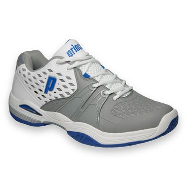 Prince Warrior Mens Tennis Shoe-White/Grey/Blue