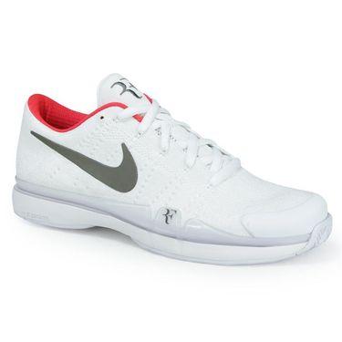 Nike Zoom Vapor Fly Knit QS Mens Tennis Shoe - White/Metallic Dark Grey/Siren Red