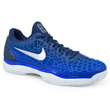 Nike Zoom Cage 3 Mens Tennis Shoe - Midnight Navy/Metallic Silver/Racer Blue