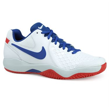 Nike Air Zoom Resistance Mens Tennis Shoe - White/Blue Jay/Pure Platinum/Action Red