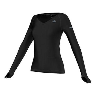 adidas V Neck Long Sleeve Tee - Black