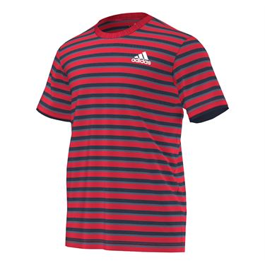 adidas Club Striped Tee - Ray Red/Navy