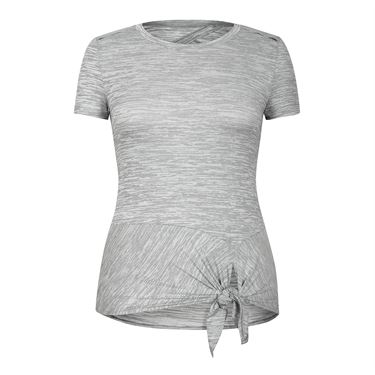 Tail Core Short Sleeve Knotted Top - Cool Grey