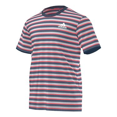 adidas Club Striped Tee - Ink/Flare Red/White