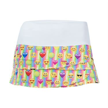 Lucky in Love Girls Emoji Rave Skirt - Multi Color