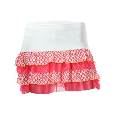 Lucky in Love Girls Mini Ikat Ruffle Tier Skirt - Hibiscus Linen