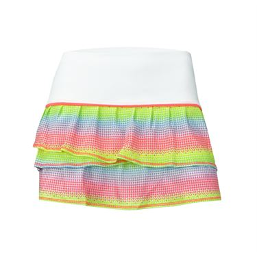 Lucky In Love Girls Nano Rainbow Pleat Tier Skirt - Coral