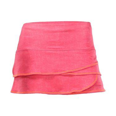 Lucky in Love Girls Mini Ikat Scallop Skirt - Hibiscus Linen