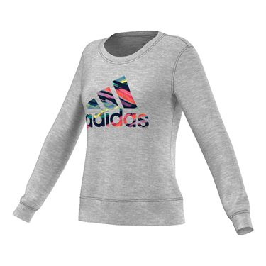 adidas Crew Logo Long Sleeve Top - Grey/Multi Color