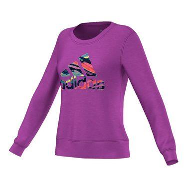 adidas Crew Logo Long Sleeve Top - Purple/Multi Color