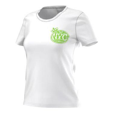 adidas NYC Tennis Tee - White/Neon Green