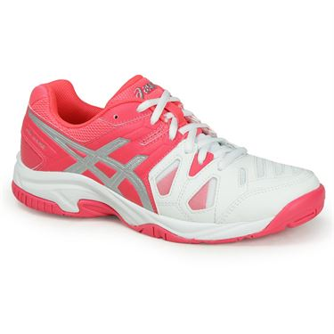 Asics Gel Game 5 Junior Tennis Shoe - White/Diva Pink/Silver