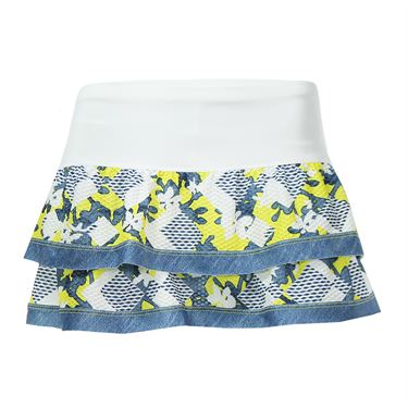 Lucky in Love Denim Days Border Tier Skirt - Chambray/Yellow
