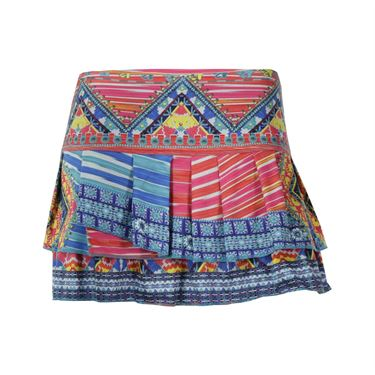 Lucky in Love Boho Chic Pleat Tier Skirt - Multi