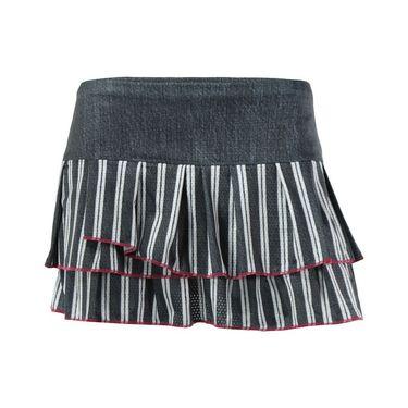 Lucky in Love In the Fast Lane Bottom Line Pleated Tier Skirt - Black Denim/Raspberry