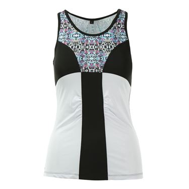 AdEdge Color Block Ruched Tank - White/Tribal Print