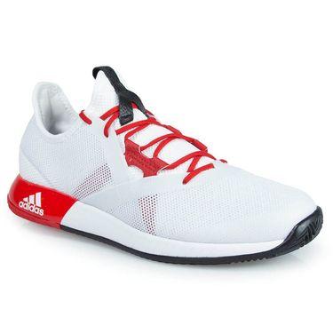 adidas adizero Defiant Bounce Womens Tennis Shoe - White/Scarlet/Core Black