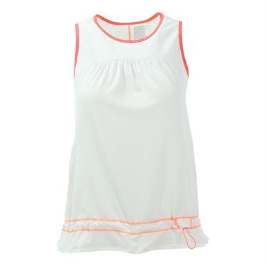 Lucky in Love Summer Lovin Sleeveless Sinch Tank - White/ Hibiscus