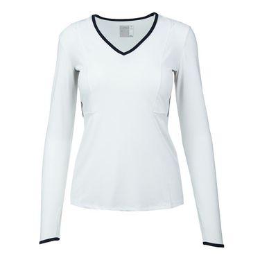 Lucky in Love Vantage V Neck Mesh Long Sleeve Top - White