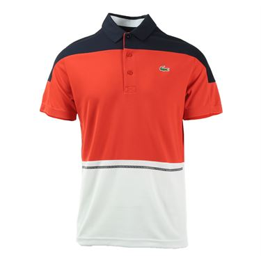 Lacoste Color Block Ultra Dry Polo - Navy/Corrida/White
