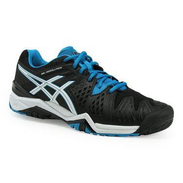 Asics Gel Resolution 6 Mens Tennis Shoe - Black/Blue Jewel/White