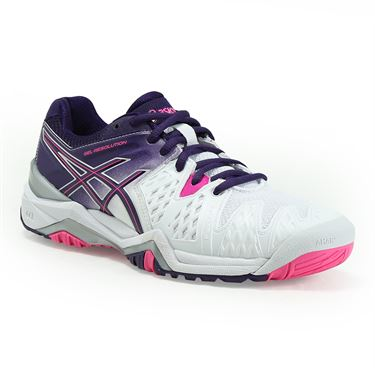 Asics Gel Resolution 6 Womens Tennis Shoe - White/Purple/Hot Pink