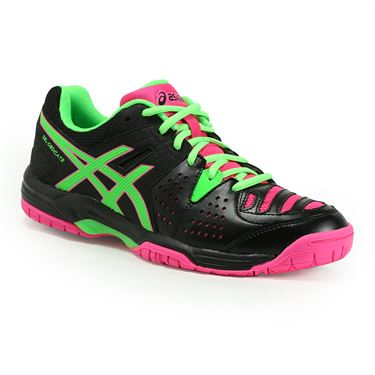 Asics Gel Dedicate 4 Womens Tennis Shoe - Black/Green/Hot Pink