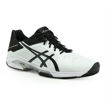 Asics Gel Solution Speed 3 Clay Mens Tennis Shoe - White/Black/Silver