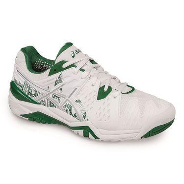 Asics Gel Resolution 6 Mens Tennis Shoe - White/Silver/Green
