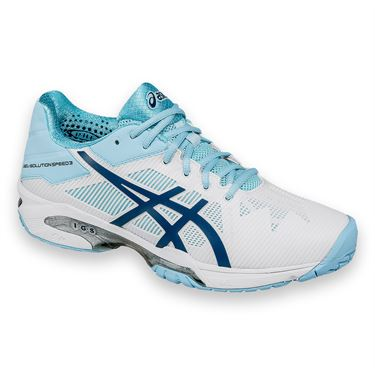 Asics Gel Solution Speed 3 Womens Tennis Shoe - White/Crystal Blue