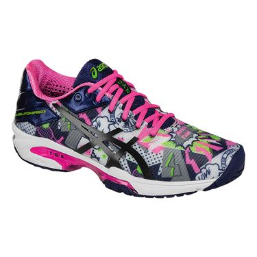 Asics Gel Solution Speed 3 NYC Limited Edition Womens Tennis Shoe - White/Indigo Blue/Hot Pink E668N 0149