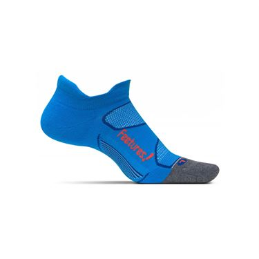 Feetures Elite Max Cushion No Show Tab Sock - Bright Blue/Lava