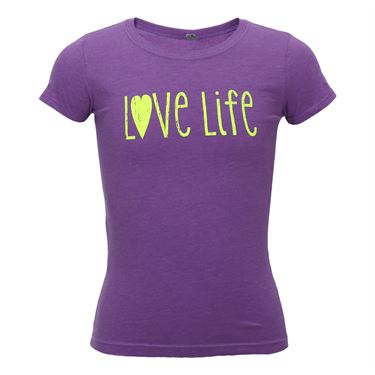 Love All Love Life Cotton/Poly Tee- Purple/Neon Yellow
